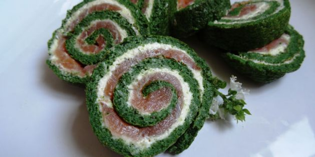 Spinat-Lachs-Rolle